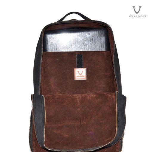 Leather Backpack Voila Rocky Junior Black