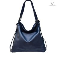 Voila Enyma Navy Leather Backpack-Hobo Bag Combination