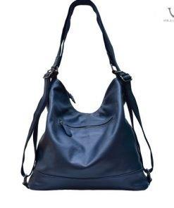 Voila Enyma Navy Leather Backpack-Hobo Bag Combination