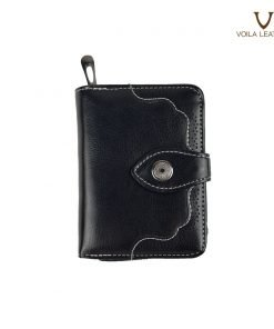 2 Fold Cow Leather Wallet Henessy Black