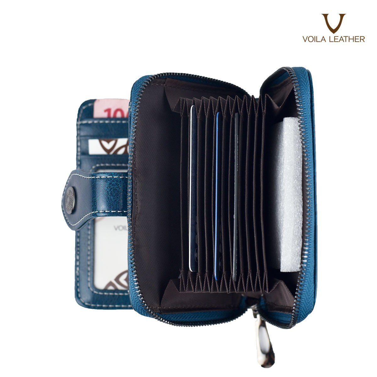 2 Fold Cow Leather Wallet Henessy Navy