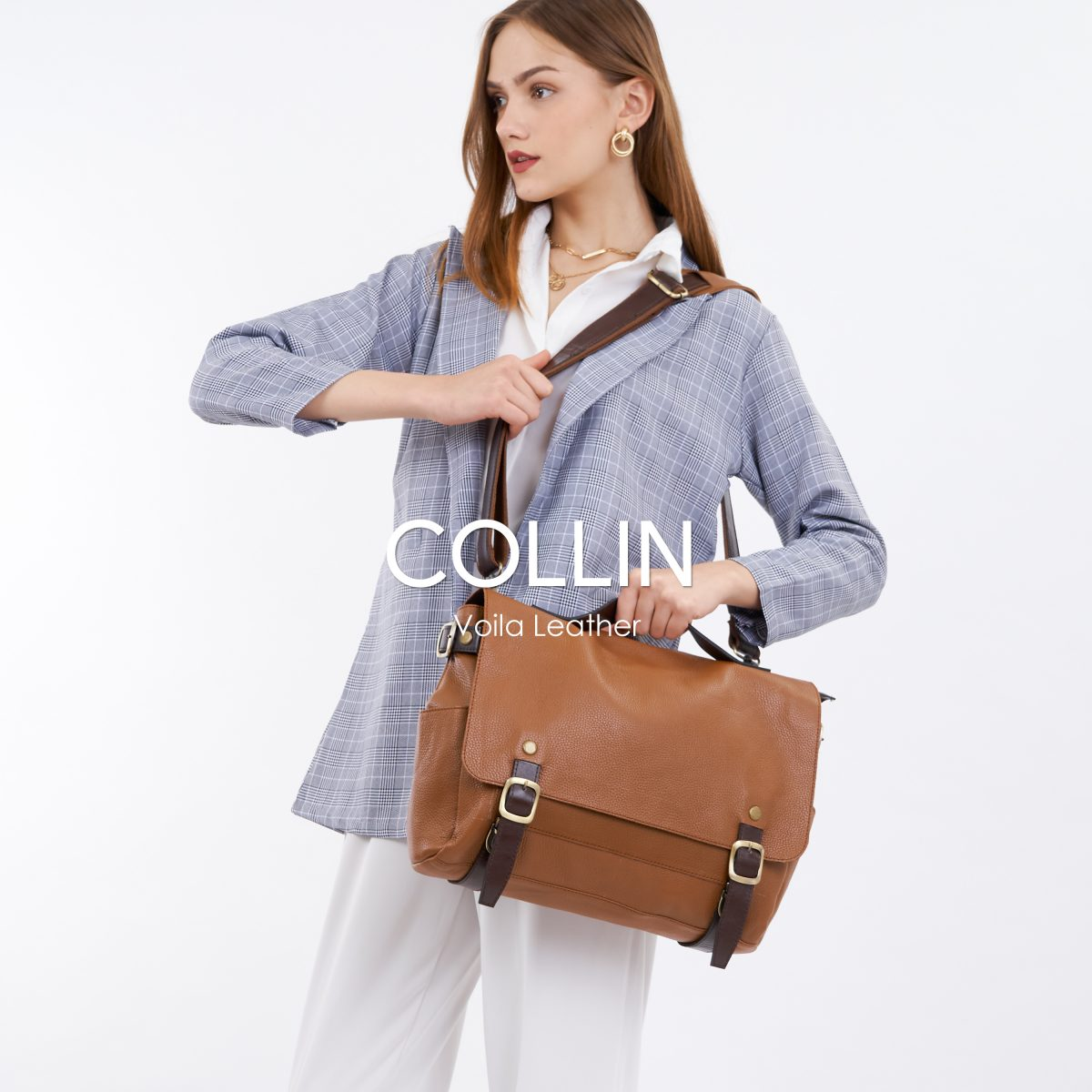 Messenger Bag Kulit Voila Collin Brown