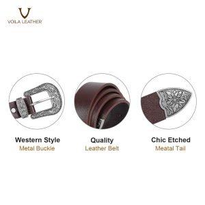 Flora in Coffee Genuine Leather Women's Belt